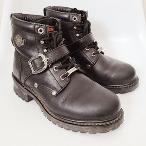 Harley-Davidson Black Leather Lace Up Moto Boots